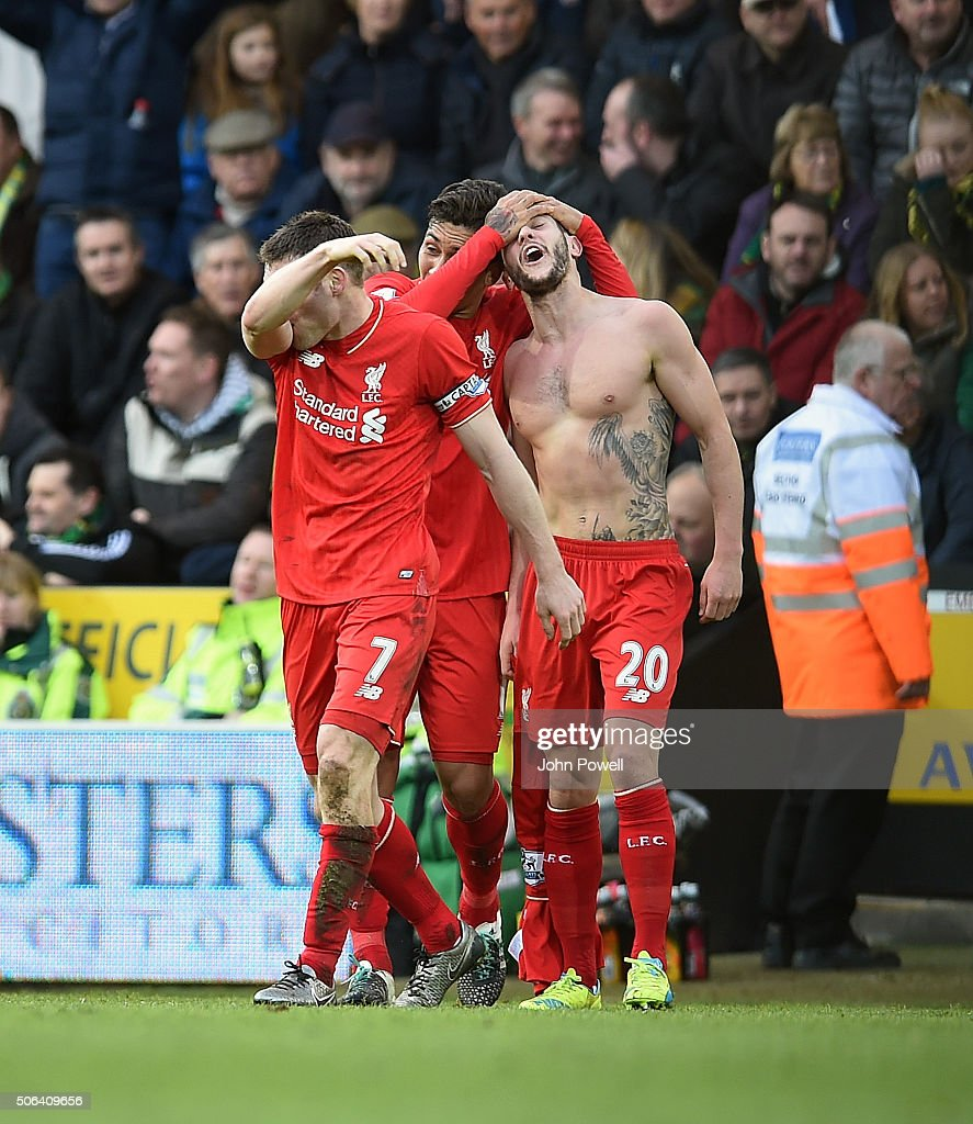 Adam Lallana of Liverpool celebrates after scoring during the Barclays Premier League match between Norwich City and Liverpool at Carrow Road on January 23, 2016 in Norwich, England.