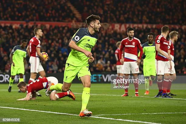 Adam Lallana of Liverpool celebrates scoring his sides first goal during the Premier League match between Middlesbrough and Liverpool at Riverside...