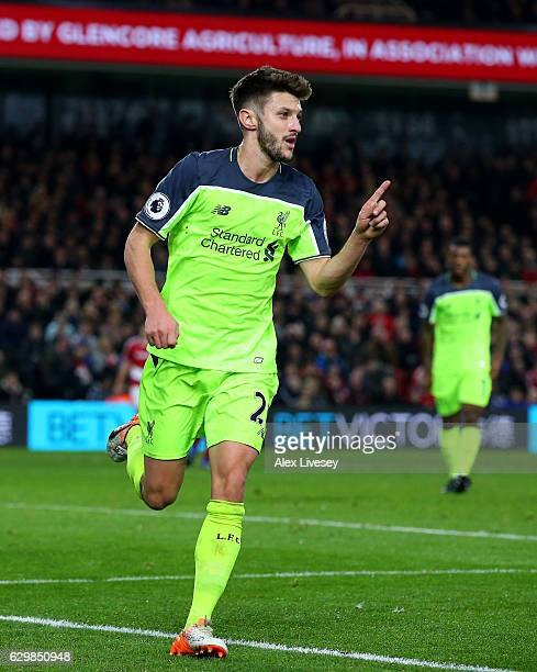 Adam Lallana of Liverpool celebrates scoring his sides third goal during the Premier League match between Middlesbrough and Liverpool at Riverside...