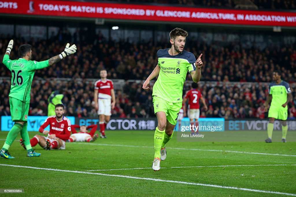 Adam Lallana of Liverpool celebrates scoring his sides third goal during the Premier League match between Middlesbrough and Liverpool at Riverside Stadium on December 14, 2016 in Middlesbrough, England.