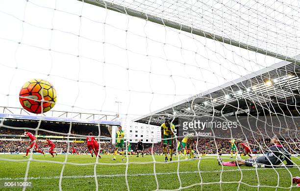 Adam Lallana of Liverpool celebrates scoring his team's fifth goal during the Barclays Premier League match between Norwich City and Liverpool at...