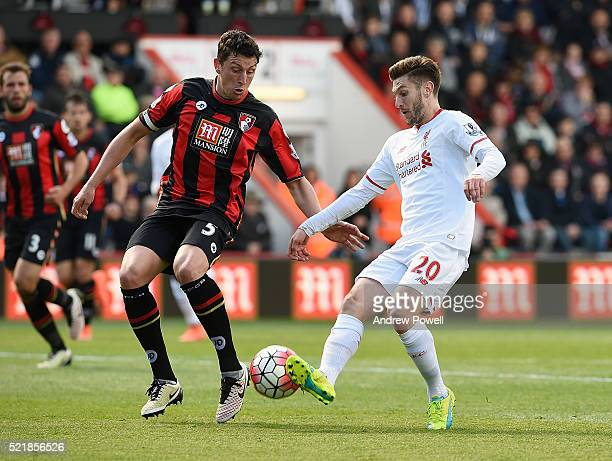 Adam Lallana of Liverpool competes with Tommy Elphick of AFC Bournemouth during the Barclays Premier League match between AFC Bournemouth and...