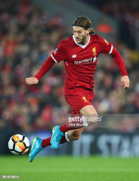 Adam Lallana of Liverpool controls the ball during the Emirates FA Cup Third Round match between Liverpool and Everton at Anfield on January 5 2018...