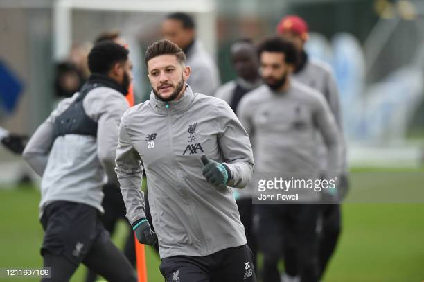 Adam Lallana of Liverpool during a training session at Melwood on March 10 2020 in Liverpool United Kingdom Liverpool FC will face Atletico Madrid in...