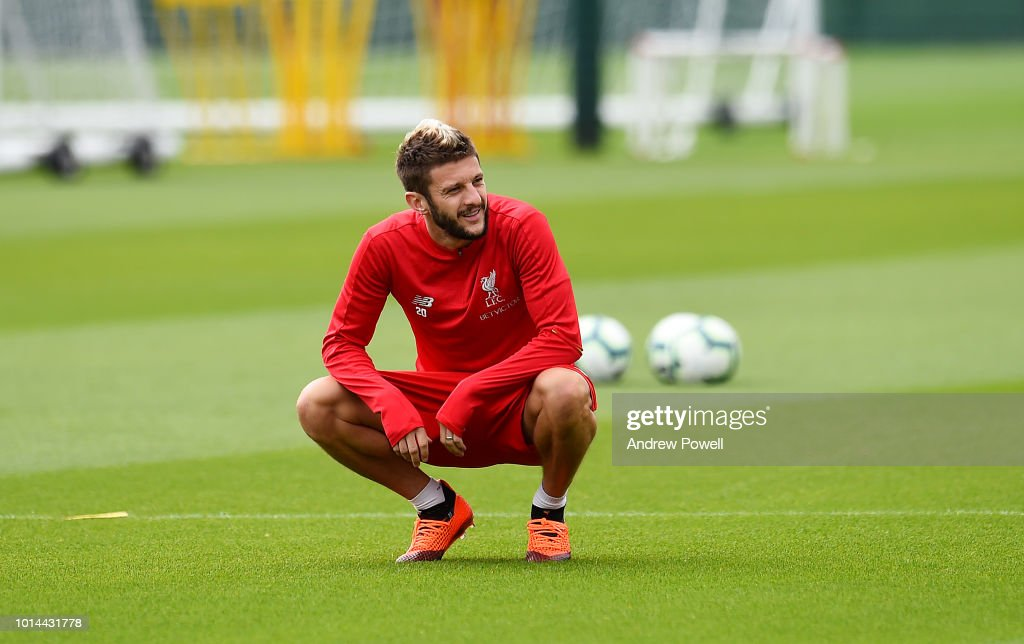 Adam Lallana of Liverpool during a training session at Melwood Training Ground on August 10, 2018 in Liverpool, England.