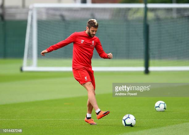 Adam Lallana of Liverpool during a training session at Melwood Training Ground on August 10 2018 in Liverpool England