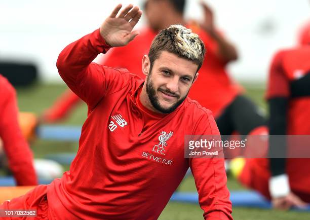 Adam Lallana of Liverpool during a training session at Melwood Training Ground on August 15 2018 in Liverpool England