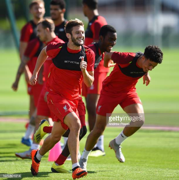 Adam Lallana of Liverpool during a training session at Melwood Training Ground on August 21 2018 in Liverpool England