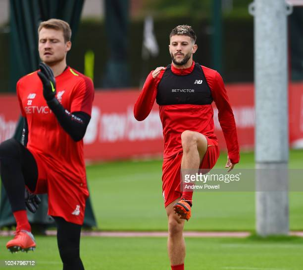 Adam Lallana of Liverpool during a training session at Melwood Training Ground on August 28 2018 in Liverpool England