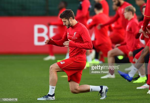 Adam Lallana of Liverpool during a training session at Melwood Training Ground on October 18 2018 in Liverpool England