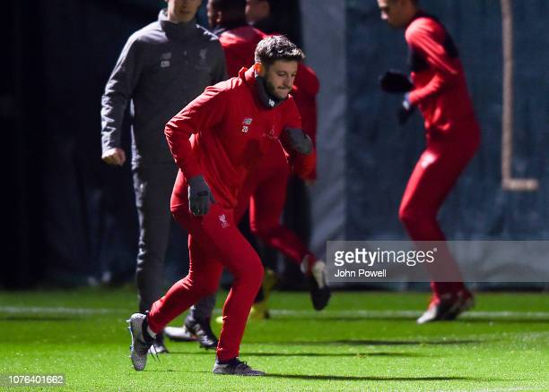 Adam Lallana of Liverpool during a training session at Melwood Training Ground on January 1 2019 in Liverpool England