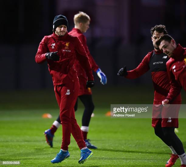 Adam Lallana of Liverpool during a training session at Melwood Training Ground on December 15 2017 in Liverpool England