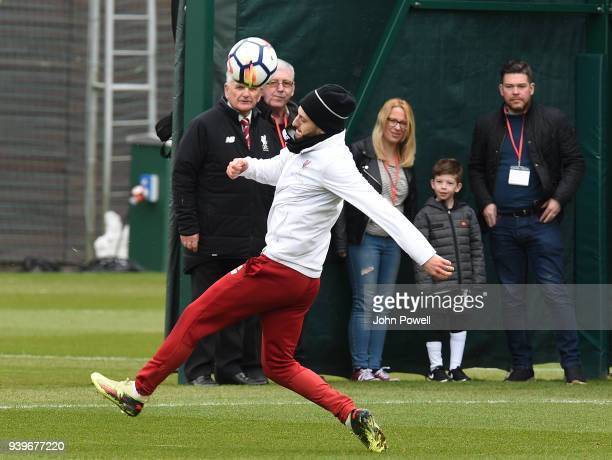 Adam Lallana of Liverpool during a training session at Melwood Training Ground on March 29 2018 in Liverpool England