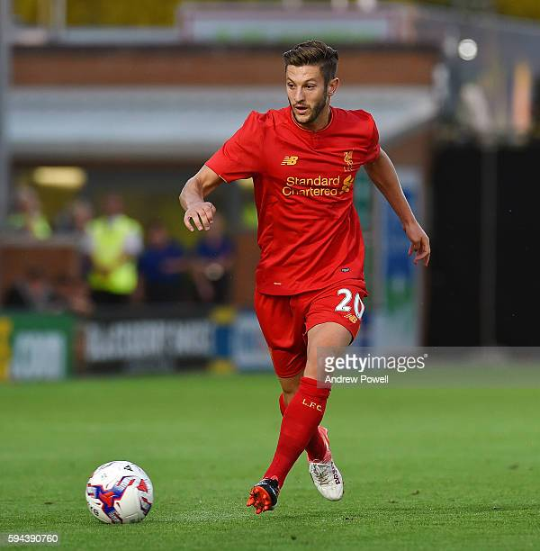 Adam Lallana of Liverpool during the EFL Cup match between Burton Albion and Liverpool at the Pirelli Stadium on August 23 2016 in Burton upon Trent...