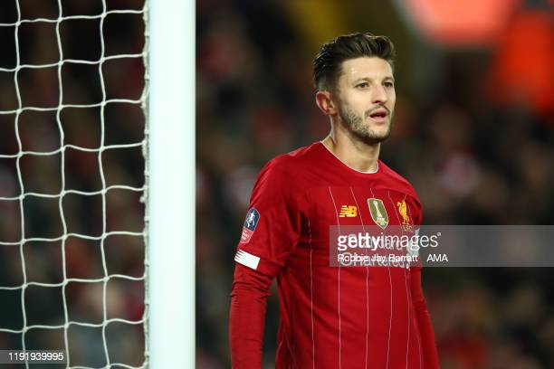 Adam Lallana of Liverpool during the FA Cup Third Round match between Liverpool and Everton at Anfield on January 5, 2020 in Liverpool, England.