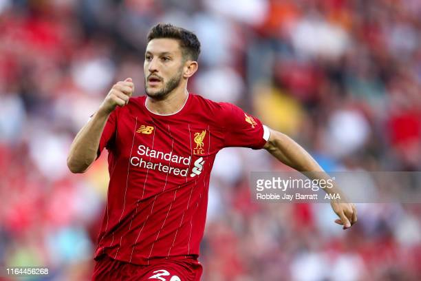 Adam Lallana of Liverpool during the Premier League match between Liverpool FC and Arsenal FC at Anfield on August 24 2019 in Liverpool United Kingdom