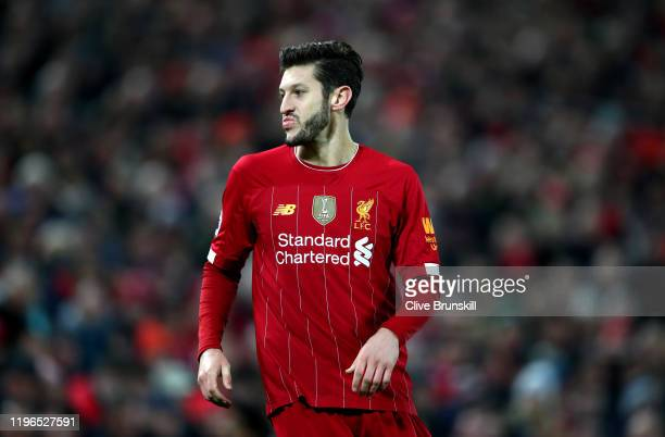 Adam Lallana of Liverpool during the Premier League match between Liverpool FC and Wolverhampton Wanderers at Anfield on December 29, 2019 in...