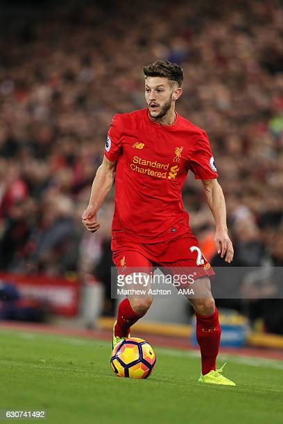 Adam Lallana of Liverpool during the Premier League match between Liverpool and Manchester City at Anfield on December 31 2016 in Liverpool England