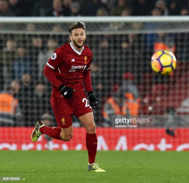 Adam Lallana of Liverpool during the Premier League match between Liverpool and Newcastle United at Anfield on March 3 2018 in Liverpool England