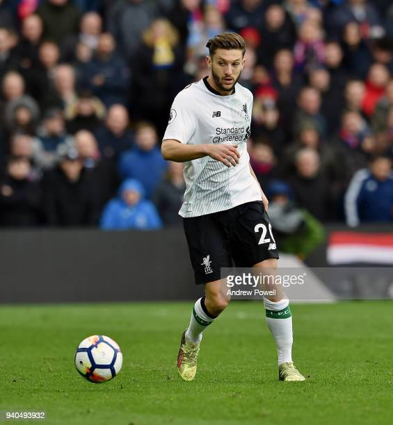 Adam Lallana of Liverpool during the Premier League match between Crystal Palace and Liverpool at Selhurst Park on March 31 2018 in London England