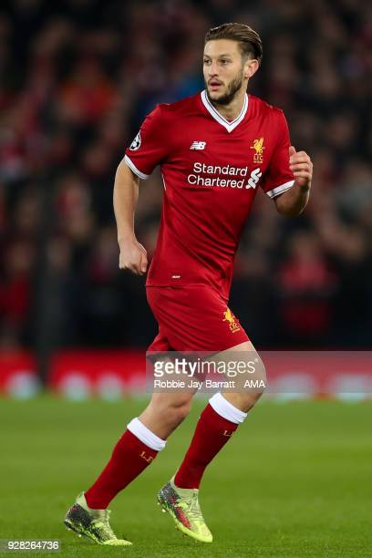 Adam Lallana of Liverpool during the UEFA Champions League Round of 16 Second Leg match between Liverpool and FC Porto at Anfield on March 6 2018 in...