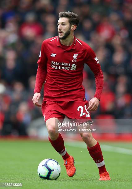 Adam Lallana of Liverpool FC during the Premier League match between Liverpool FC and Burnley FC at Anfield on March 10 2019 in Liverpool United...