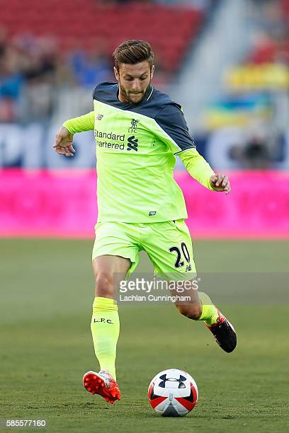 Adam Lallana of Liverpool FC in action against AC Milan during the International Champions Cup match at Levi's Stadium on July 30 2016 in Santa Clara...