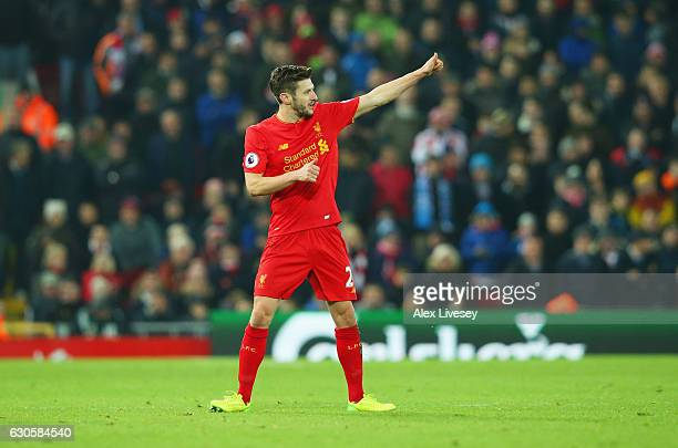 Adam Lallana of Liverpool gives a thumbs up as he is substituted during the Premier League match between Liverpool and Stoke City at Anfield on...