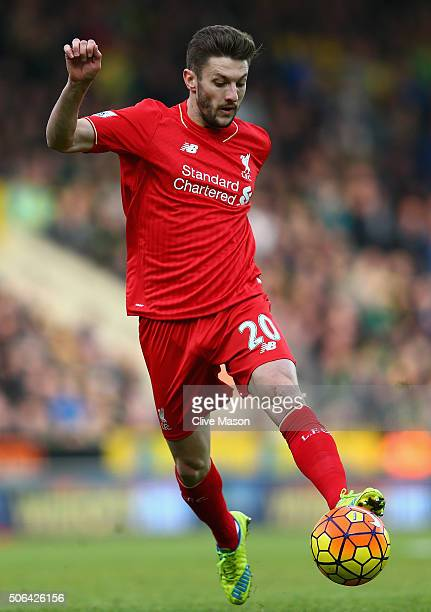 Adam Lallana of Liverpool in action during the Barclays Premier League match between Norwich City and Liverpool at Carrow Road on January 23 2016 in...