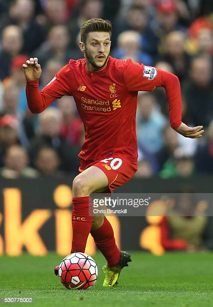 Adam Lallana of Liverpool in action during the Barclays Premier League match between Liverpool and Chelsea at Anfield on May 11 2016 in Liverpool...