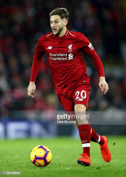 Adam Lallana of Liverpool in action during the Premier League match between Liverpool FC and Leicester City at Anfield on January 30 2019 in...
