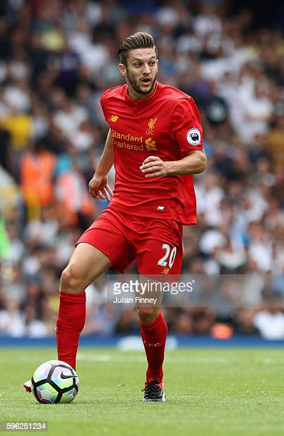 Adam Lallana of Liverpool in action during the Premier League match between Tottenham Hotspur and Liverpool at White Hart Lane on August 27 2016 in...