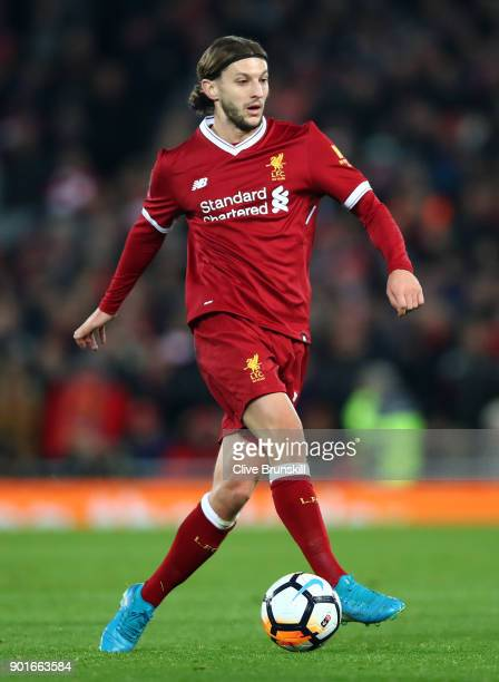 Adam Lallana of Liverpool in action during the Premier League match between Everton and Manchester United at Goodison Park on January 1 2018 in...