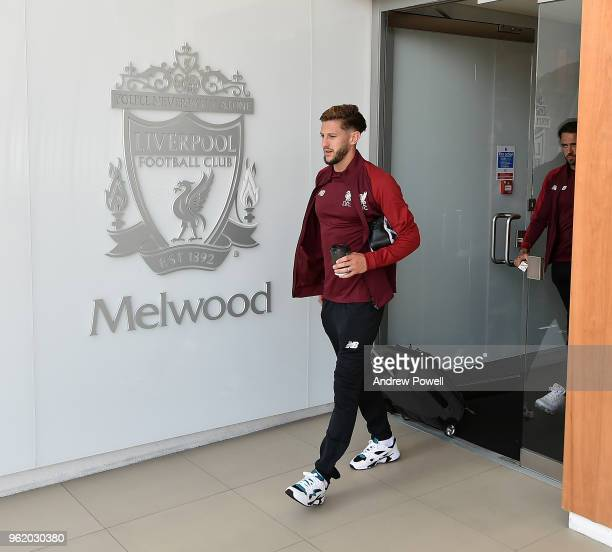 Adam Lallana of Liverpool on his way to the UEFA Champions League Final in Kiev from Melwood Training Ground on May 24 2018 in Liverpool England
