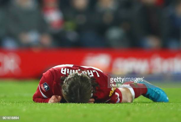 Adam Lallana of Liverpool reacts during the Emirates FA Cup Third Round match between Liverpool and Everton at Anfield on January 5 2018 in Liverpool...