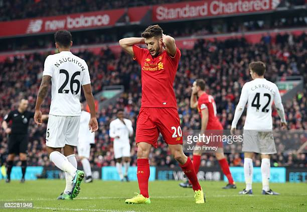 Adam Lallana of Liverpool reacts during the Premier League match between Liverpool and Swansea City at Anfield on January 21 2017 in Liverpool England