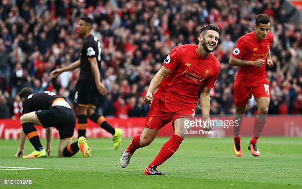Adam Lallana of Liverpool scores his sides first goal during the Premier League match between Liverpool and Hull City at Anfield on September 24 2016...