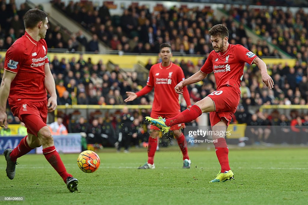 Adam Lallana of Liverpool scores the fifth goal during the Barclays Premier League match between Norwich City and Liverpool at Carrow Road on January 23, 2016 in Norwich, England.