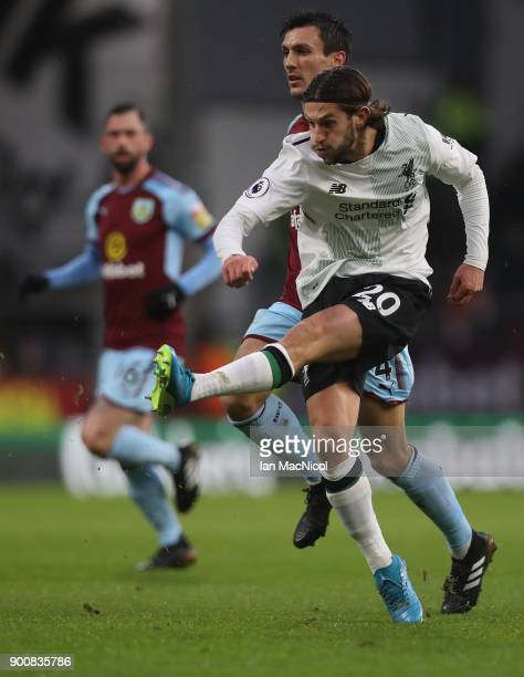 Adam Lallana of Liverpool shoots at goal during the Premier League match between Burnley and Liverpool at Turf Moor on January 1 2018 in Burnley...