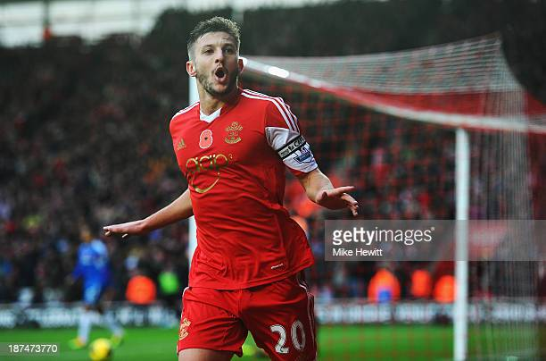 Adam Lallana of Southampton celebrates after scoring during the Barclays Premier League match between Southampton and Hull City at St Mary's Stadium...