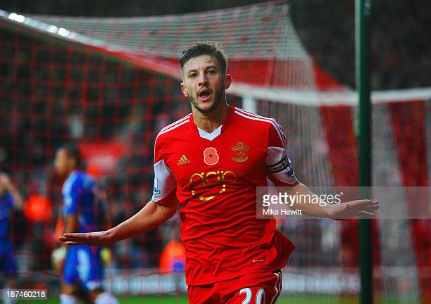 Adam Lallana of Southampton celebrates as he scores their third goal during the Barclays Premier League match between Southampton and Hull City at St...