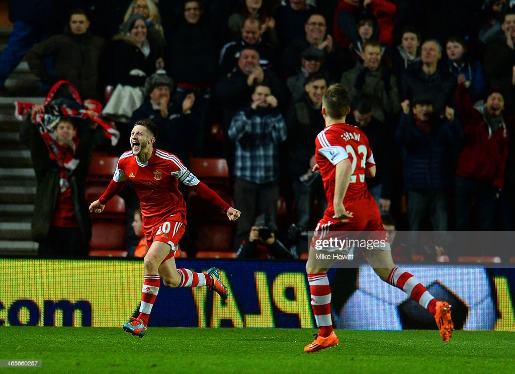 Adam Lallana of Southampton celebrates scoring their second goal during the Barclays Premier League match between Southampton and Arsenal at St Mary's Stadium on January 28, 2014 in Southampton, England.