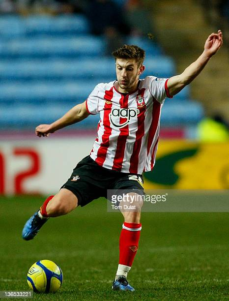 Adam Lallana of Southampton in action during the FA Cup 3rd round match between Coventry City and Southampton at the Ricoh Arena on January 07 2012...