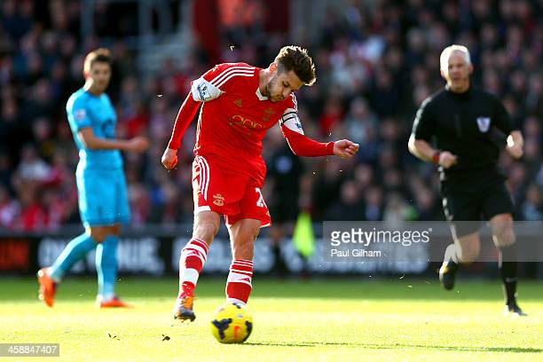 Adam Lallana of Southampton scores the opening goal during the Barclays Premier League match between Southampton and Tottenham Hotspur at St Mary's...