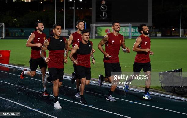 Adam Lallana Roberto Firmino Philippe Coutinho Marko Grujic Dejan Lovren and Mohamed Salah of Liverpool during a training session on July 18 2017 at...