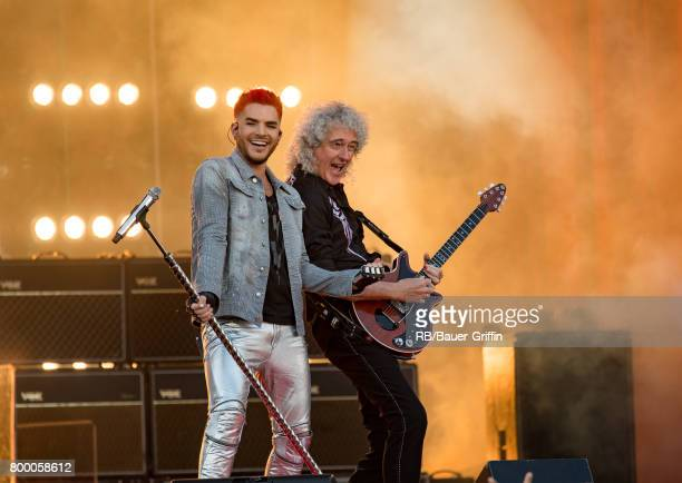 Adam Lambert and Brian May are seen at 'Jimmy Kimmel Live' on June 22 2017 in Los Angeles California