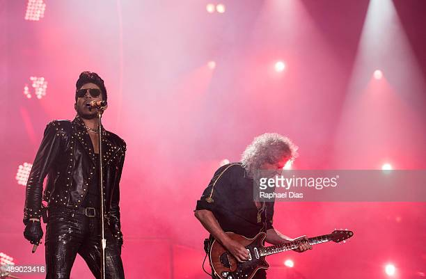 Adam Lambert and Brian May from Queen Adam Lambert performs at 2015 Rock in Rio on September 18 2015 in Rio de Janeiro Brazil