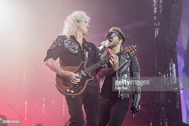 Adam Lambert and Brian May from Queen Adam Lambert performs at the Isle Of Wight Festival 2016 at Seaclose Park on June 12 2016 in Newport Isle of...