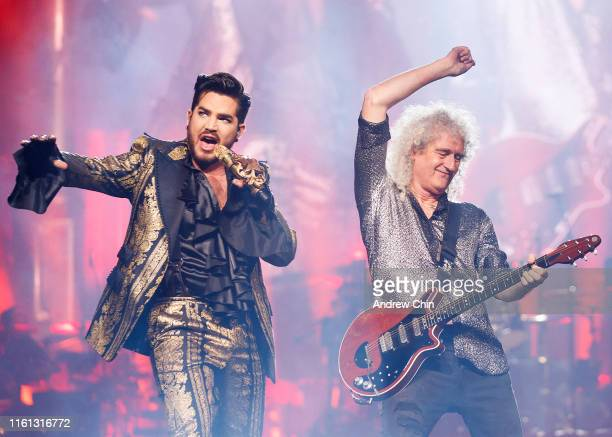 Adam Lambert and Brian May of Queen Adam Lambert perform on stage during their Rhapsody Tour opener at Rogers Arena on July 10 2019 in Vancouver...