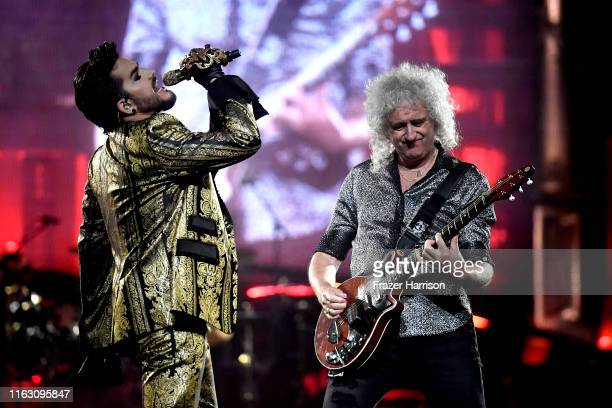 Adam Lambert and Brian May of Queen in concert at The Forum on July 19, 2019 in Inglewood, California.